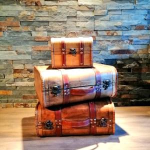 Location valise vintage bois et cuir Décoration thème voyage mariage baptême communion Tours 37 indre et loire