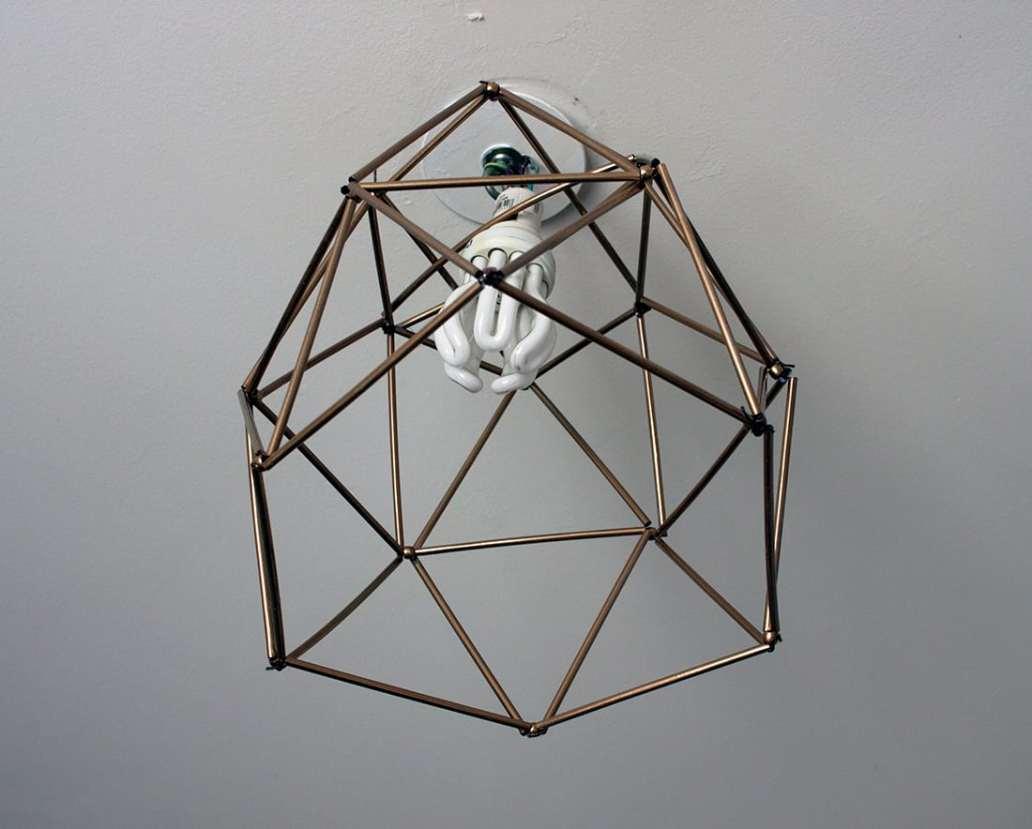 lustre fabrique avec des pailles - Fabriquer un lustre géométrique avec des pailles
