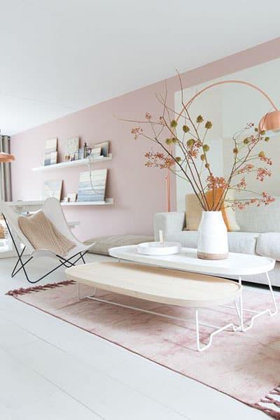 un mur de couleur pastel pour le salon - Pinterest : ajouter de la couleur dans le salon