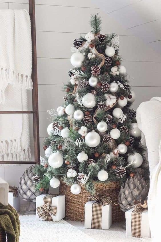 un sapin decore avec des pommes de pin  - Le sapin de Noël :  comment réussir à le décorer ?