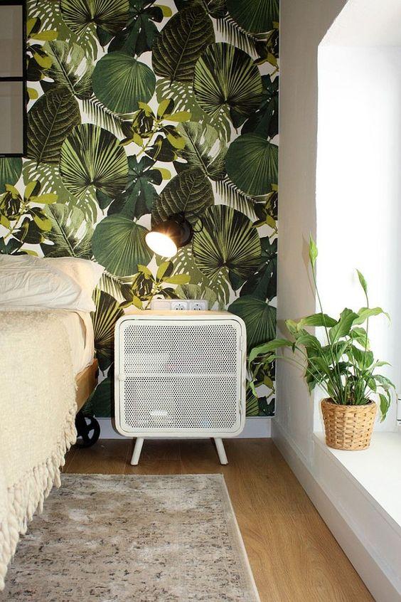 chambre déco du bresil avec papier peint panoramique tropical - La déco du Brésil : un style tropical mêlé à une ambiance bohème