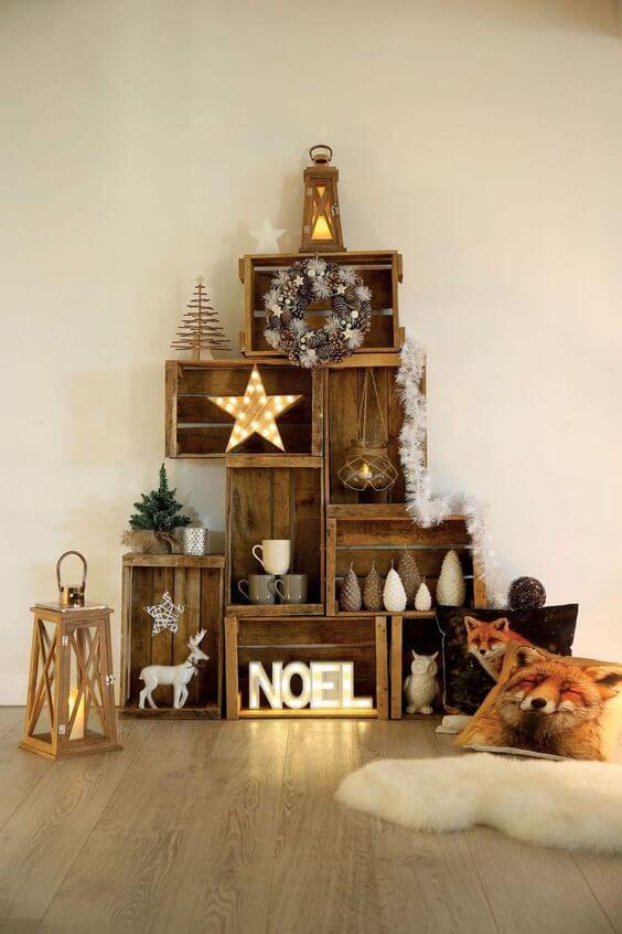un sapin en cagette - 10 idées pour fabriquer le sapin de Noël