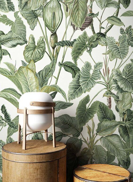 Un salon zen avec un papier peint nature - Quel papier peint pour mon salon ?