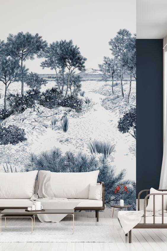 un papier peint oeuvre dart pour le salon design  - Quel papier peint pour mon salon ?
