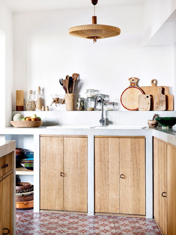 une cuisine bohème ethnique chic en bois - Une déco ethnique dans toute la maison