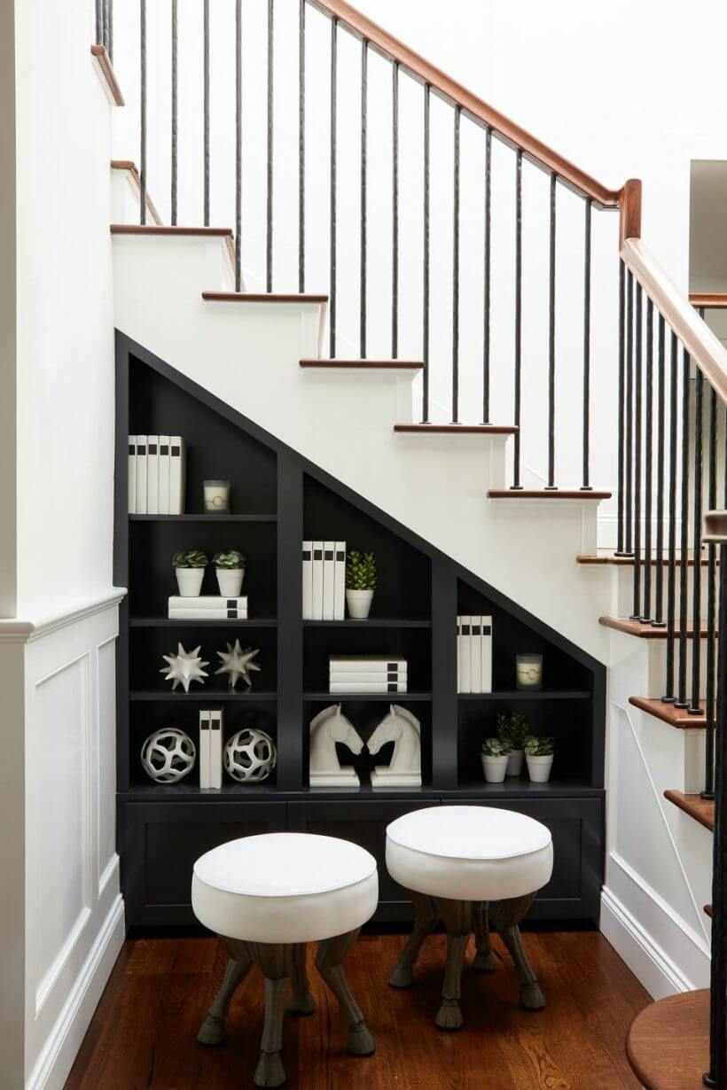 decorative under stairs 820x1230 1 - Comment décorer et aménager le dessous d'un escalier ?