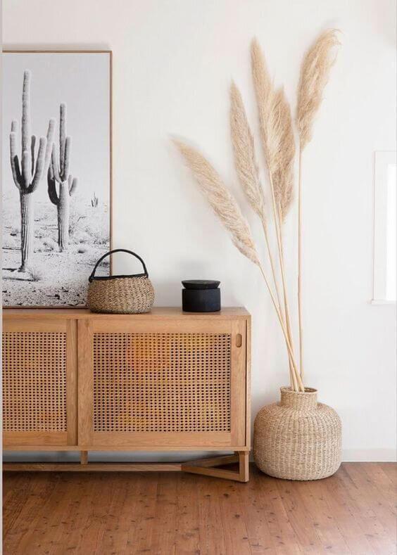 salon meuble cannage fleur sechees - Mes conseils pour trouver son style de décoration
