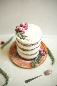 chocolate tahini cake with rosemary buttercream