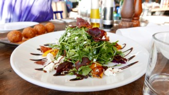 Rocket and pancetta salad with apricots