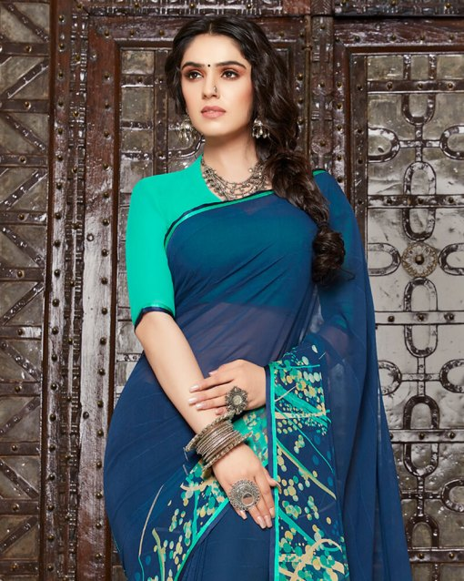 Vishal Prints Navy Blue And Teal Georgette Saree With Satin Piping