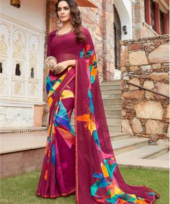 Vishal Prints Maroon And Yellow Georgette Saree With Satin Piping