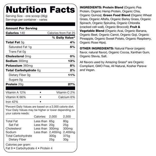 Amazing Grass Protein Superfood Rich Chocolate Nutrition