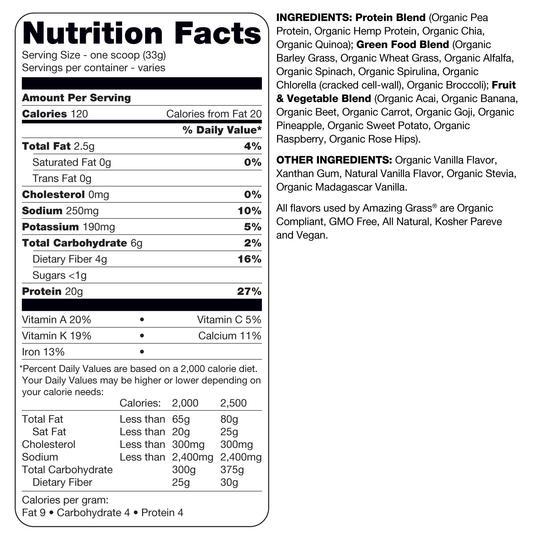Amazing Grass Protein Superfood Vanilla Nutrition