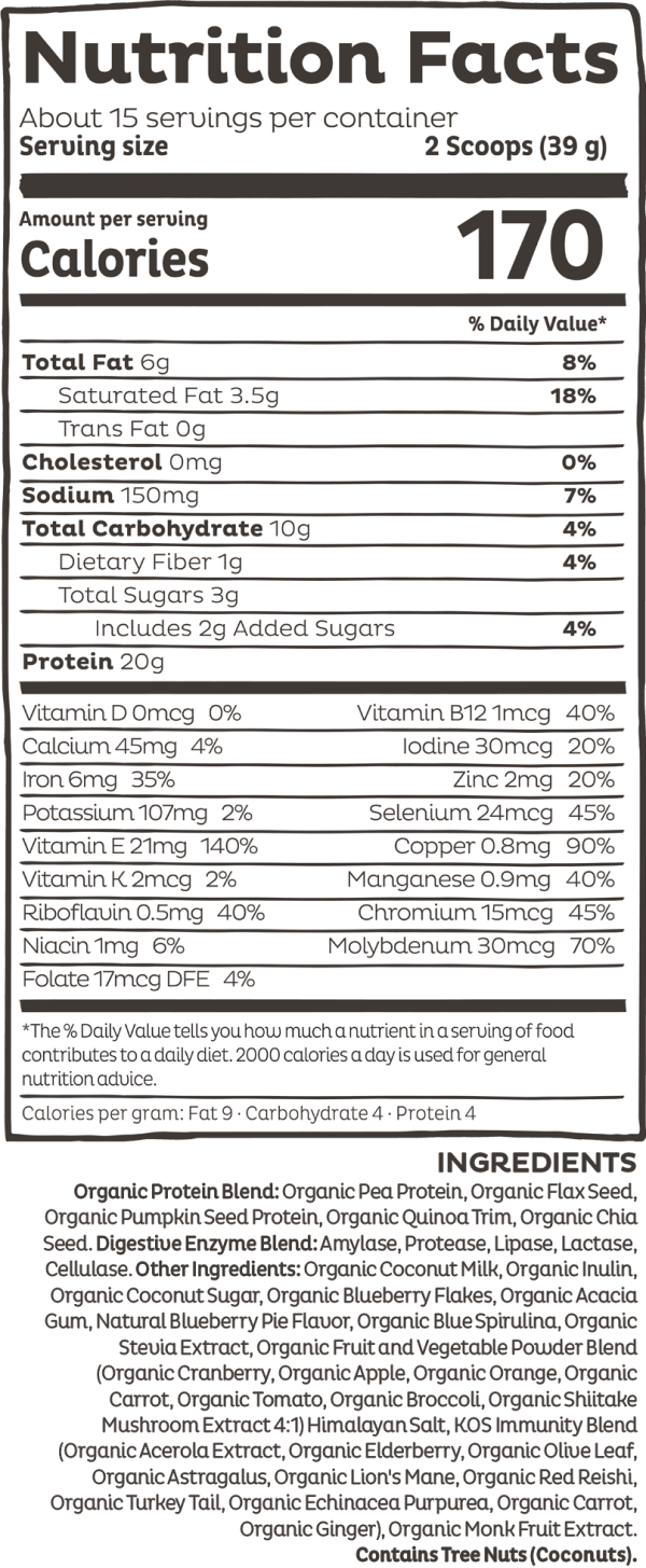 Kos Organic Plant Protein Blueberry Muffin