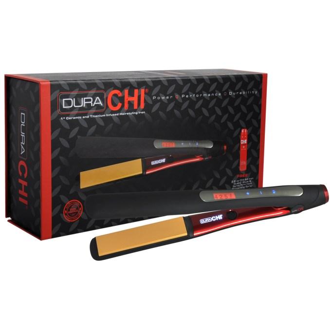 dura chi ceramic & titanium hairstyling iron / chi flat iron