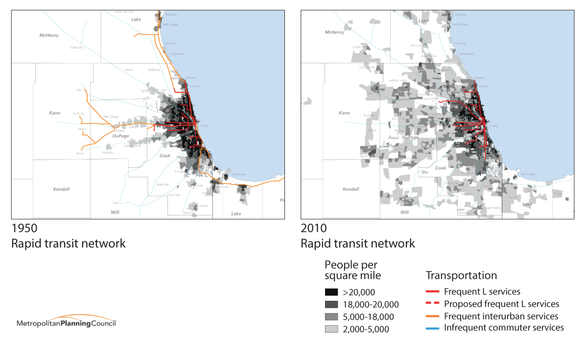 Chicagoland has less frequent train service now than it did in 1950. Image: Metropolitan Planning Council