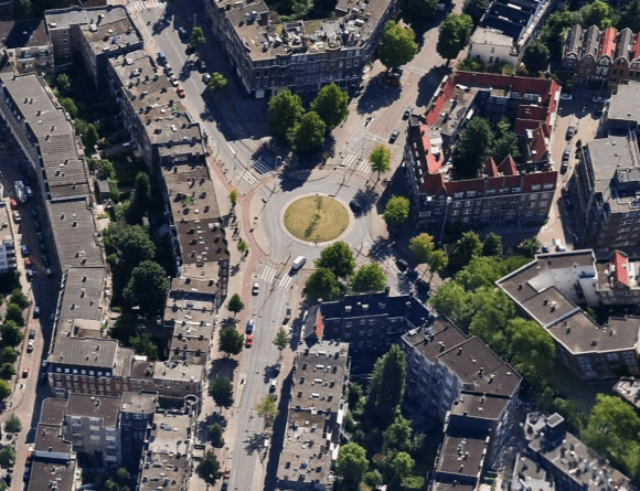 Roundabout in mixed use neighborhood in Rotterdam