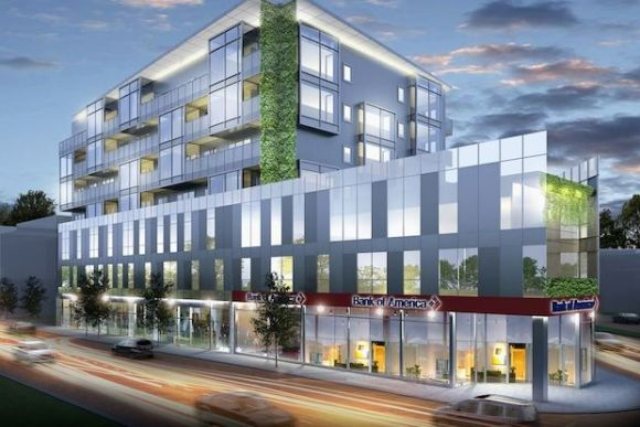 The TOD building at 1237 N Milwaukee is currently under construction. Rendering by Jonathan Splitt Architects
