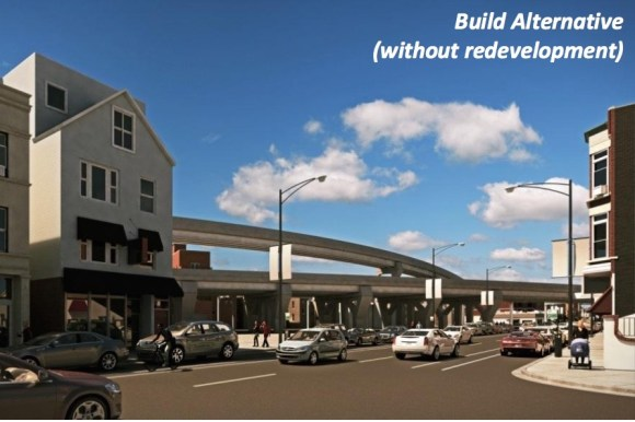 The bypass structure is shown without any redeveloped buildings. The CTA said it would work with Alderman Tunney and the city's planning department to create a redevelopment plan. Image: CTA