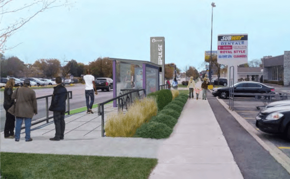 The Pace Pulse line for Dempster Avenue would use permanent and visible stations like this, but was rejected until Pace gains more experience from implementing its Milwaukee Ave. Pulse line.