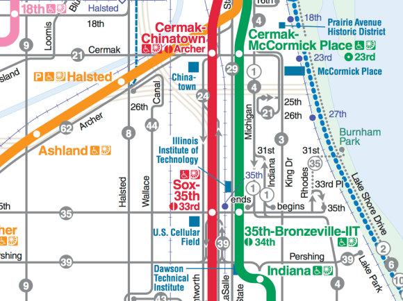 A map of the CTA's bus routes near Chinatown show a major gap in the east-west network between Cermak Road and 35th Street..