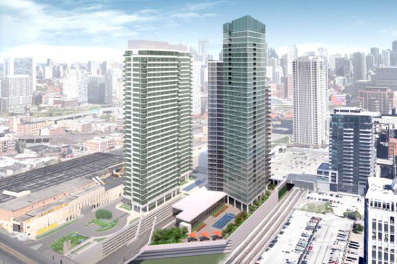 Rendering of new building (right) in West Loop