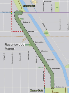 The Manor neighborhood greenway builds two new connections to Horner and Ronan Parks, and adds biking and walking infrastructure to an on-street segment highlighted in green.