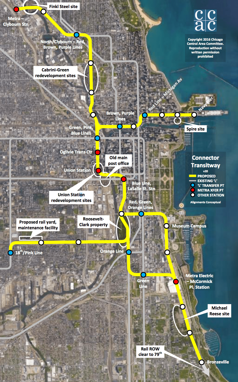 Central Area Committee Pushing New Downtown Rail Transit Again - Chicago map union station