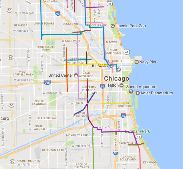 the mellow chicago bike map routes re mended by members of the