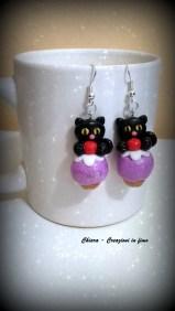 orecchini in fimo gatti neri cupcake