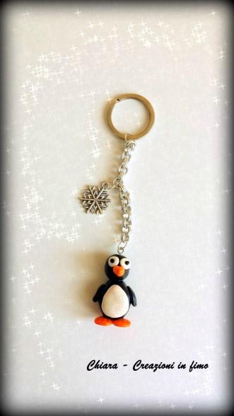 portachiavi in fimo pinguino