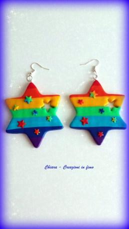 orecchini in fimo stelle arcobaleno
