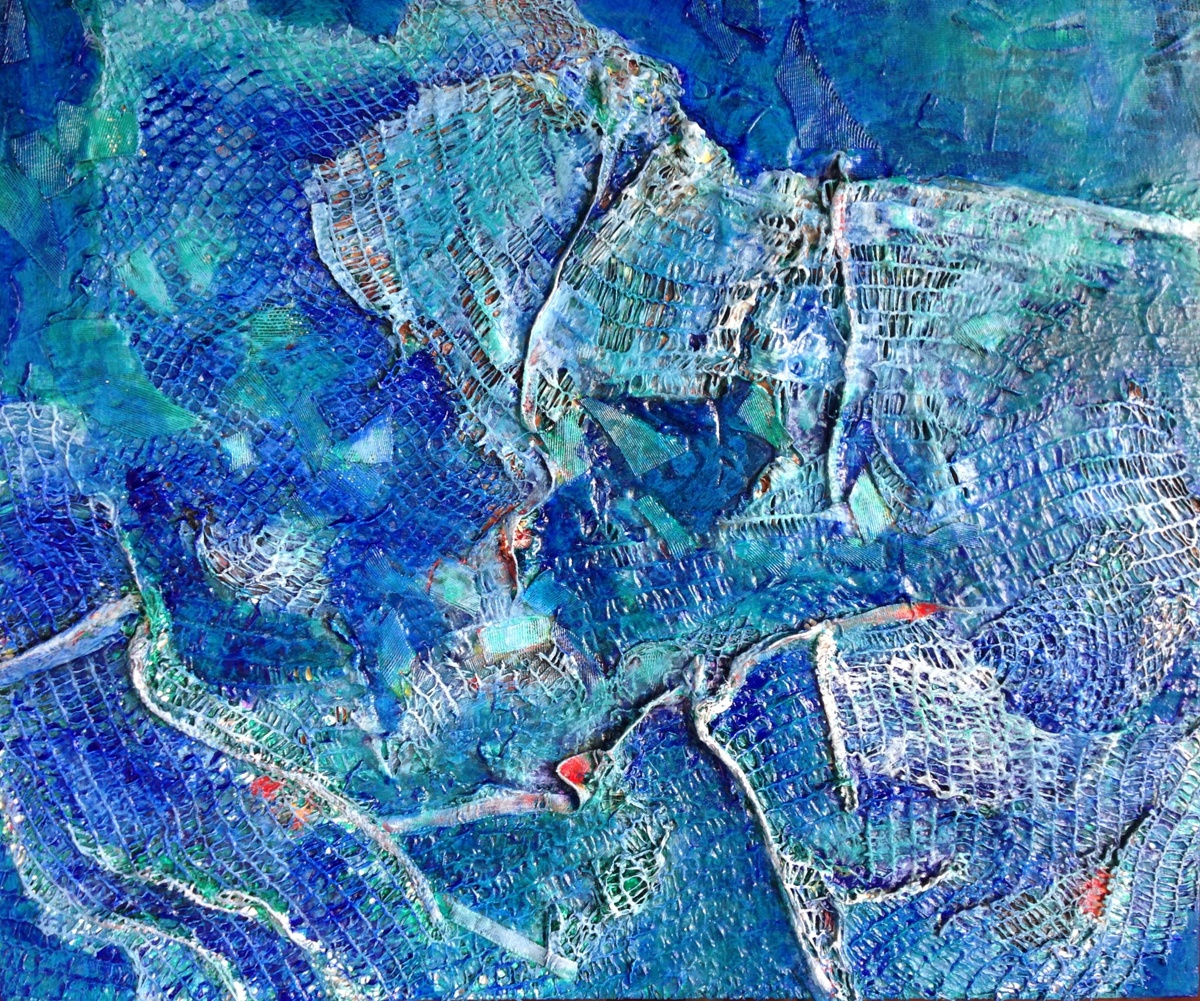 plastic is the new ocean, abstract acrylic and trash painting on wood
