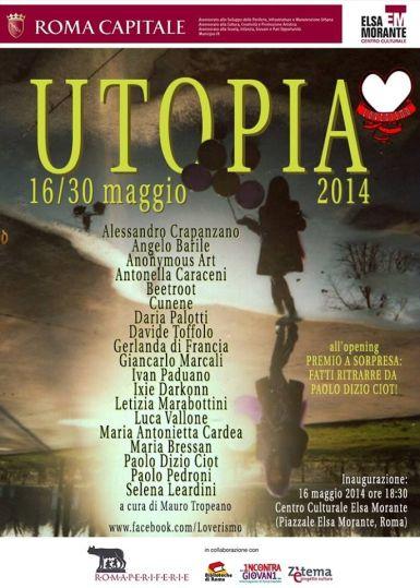 La locandina di Utopia, mostra allestita nella capitale, realizzata con una polaroid di Ciot.