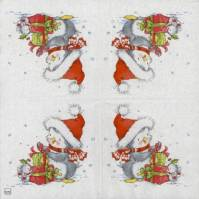 Decoupage Paper Napkins of Christmas Penguin and Mouse
