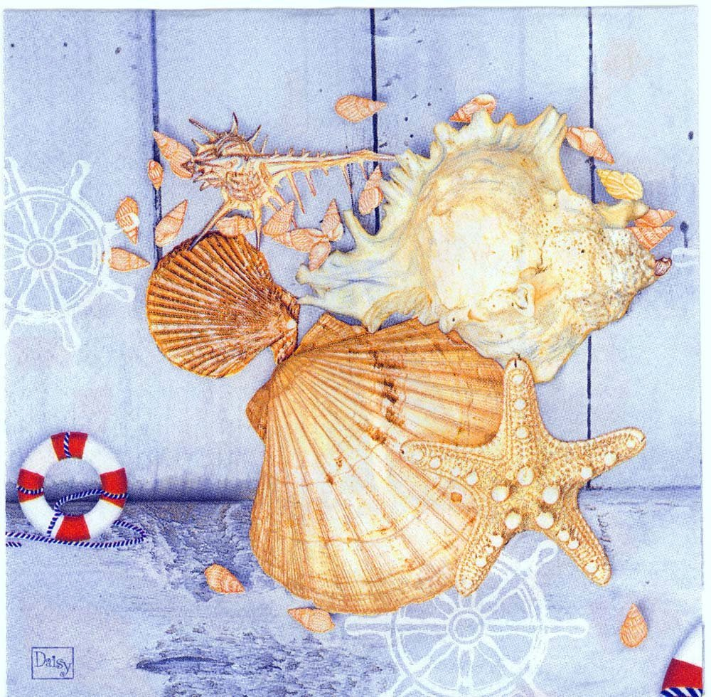 Decoupage Napkins Of Beach Toy Boat Sea Shells Sea Stars