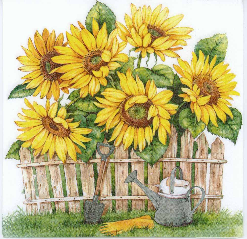 Decoupage Paper Napkins of a Sunflower Garden  Chiarotino