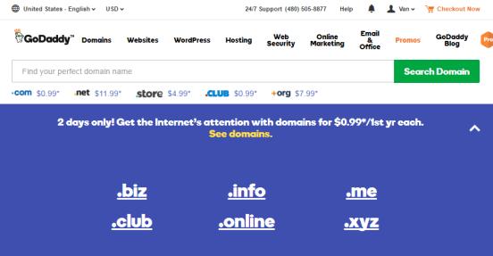 đăng ký tên miền 0.99usd tại GoDaddy