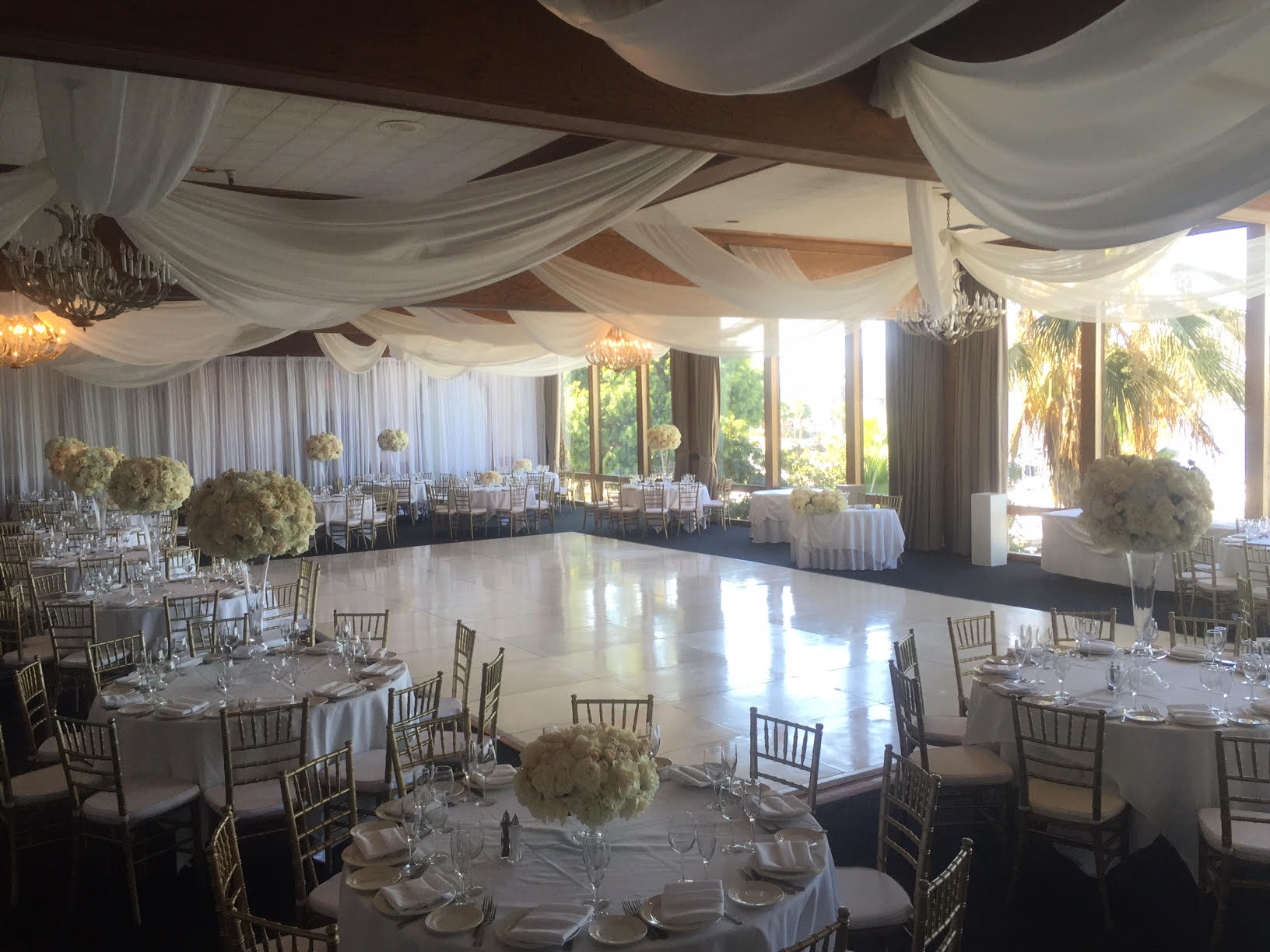 chair rentals long beach ca wrought iron glass top table and chairs wedding at the reef restaurant in 818 636 gold chiavari rental