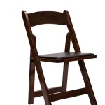 Chair Folding Wood Fruitwood With Black Vinyl Cushion 1