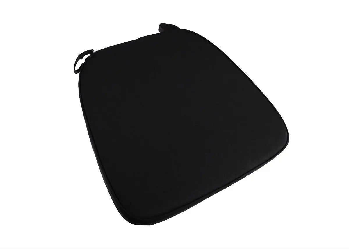 black chair pads desk chairs office depot extra thick chiavari cushion