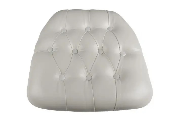 white cushion chair home goods vinyl wood base tufted chiavari the