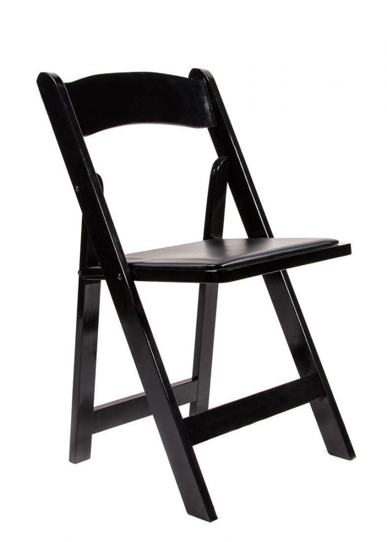 Black Wood Folding Chair with Padded Seat  Chiavari Chairs