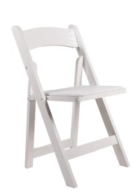 White Resin Folding Chair with White Vinyl Padded Seat ...