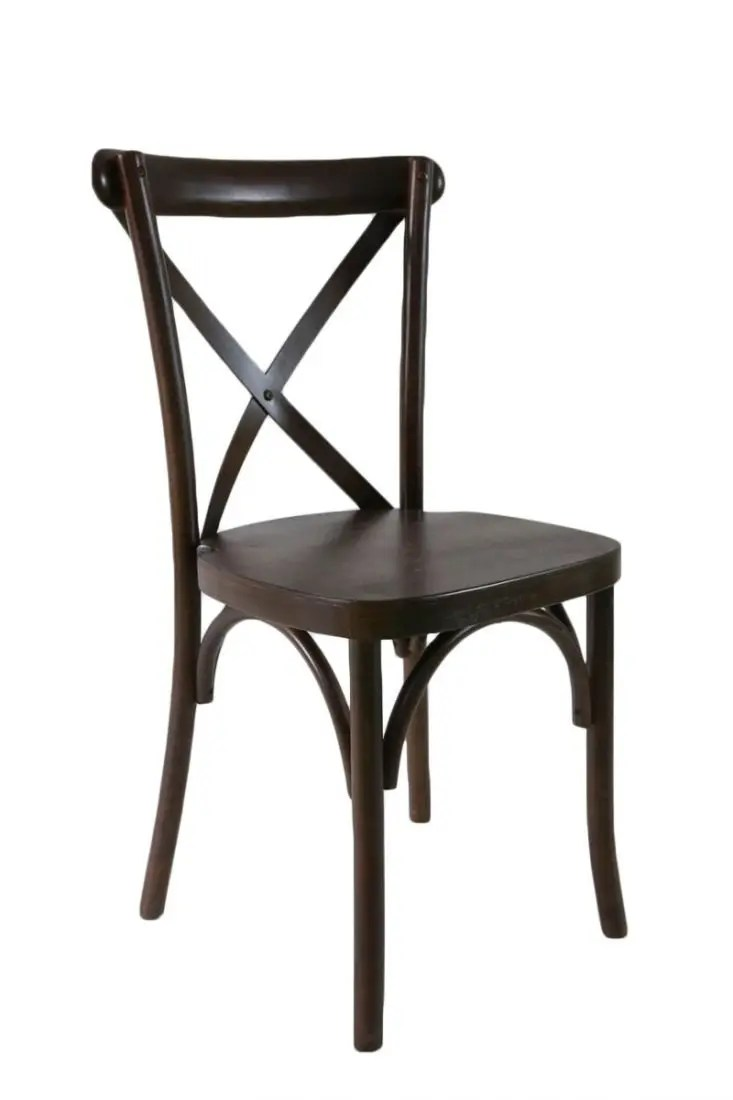 Espresso Wood Cross Back Chair  The Chiavari Chair Company