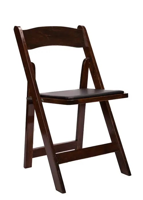 folding chair with cushion captain chairs for sprinter van wood the chiavari company fruitwood black seat