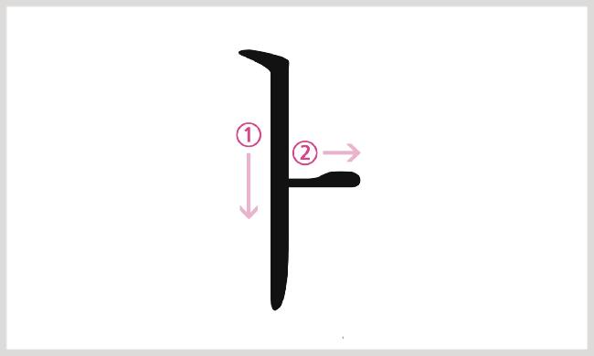 母音ㅏの書き順