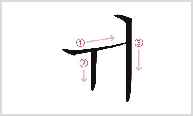 母音ㅟの書き順