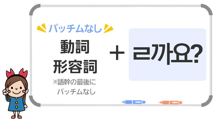 動詞・形容詞(パッチムなし)+ㄹ까요?