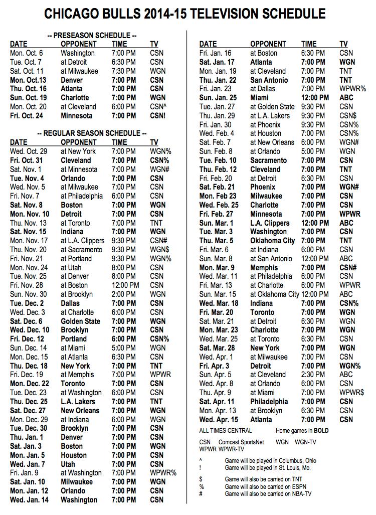 View: Bulls' 2014-'15 TV Schedule